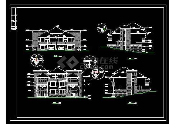 山体别墅楼建筑施工cad设计方案图纸-图3