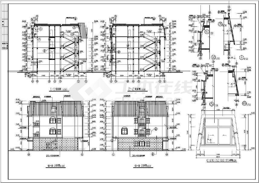 某地标准招待所建筑施工图(共4张)-图1