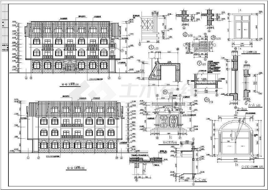 某地标准招待所建筑施工图(共4张)-图3