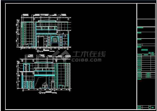 点击查看某酒店大堂立面装修设计CAD详图图纸第2张大图