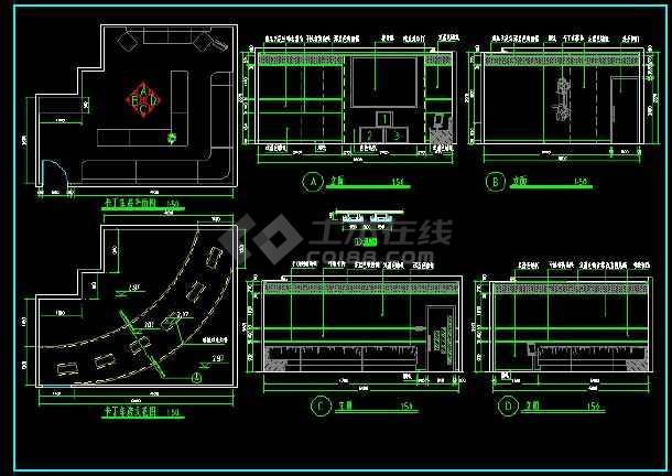 KTV包房装修设计CAD立面施工图-图1