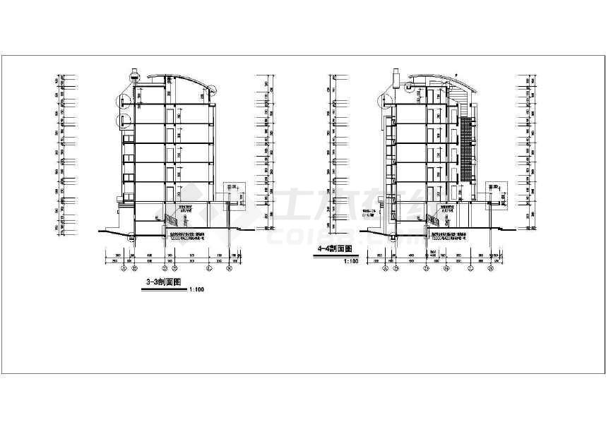某地详细的扬子名苑16#建筑施工图(平立剖)-图1