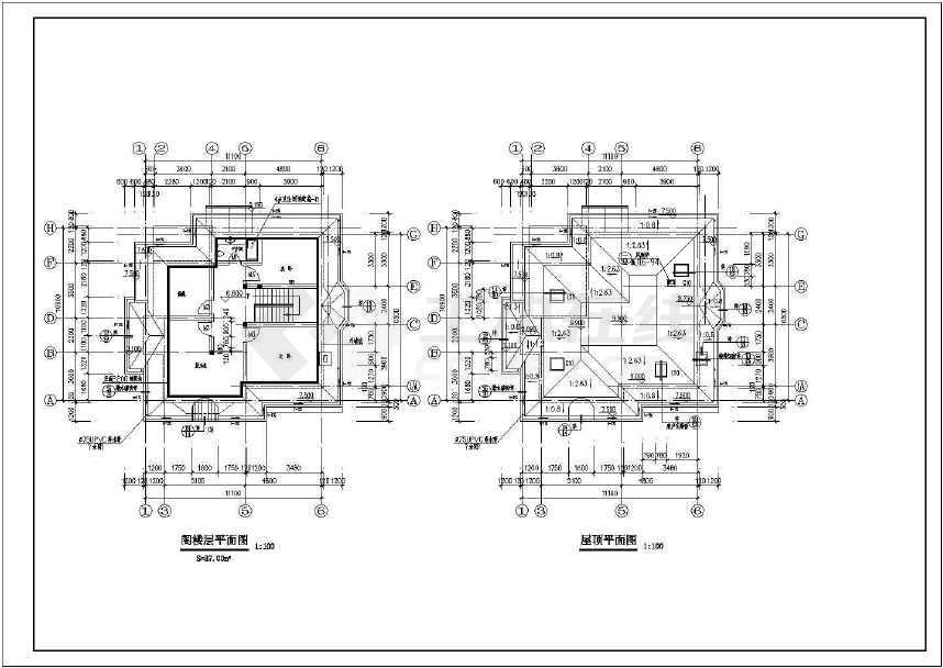 某地小别墅建筑cad设计图(含设计说明)-图2