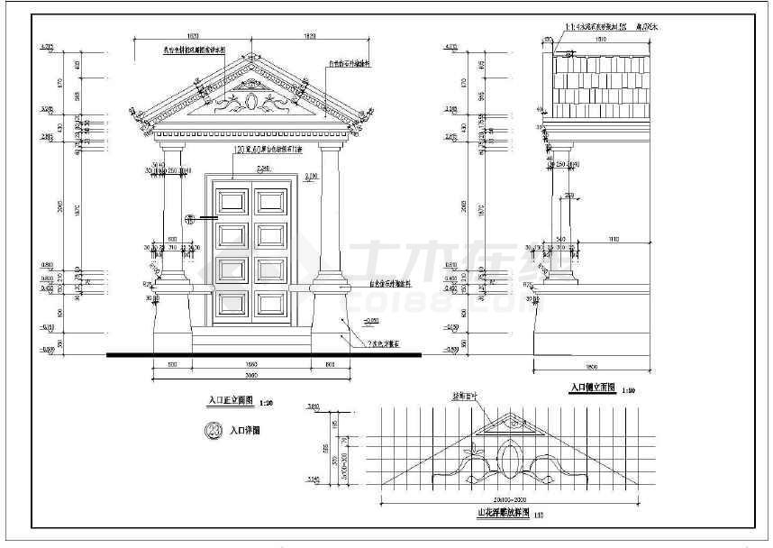 某地小别墅建筑cad设计图(含设计说明)-图3