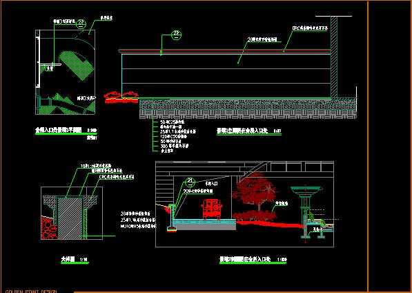 会所入口景墙大样图设计CAD方案图片1