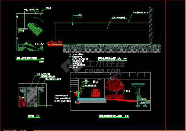 会所入口景墙大样图设计CAD方案-图1