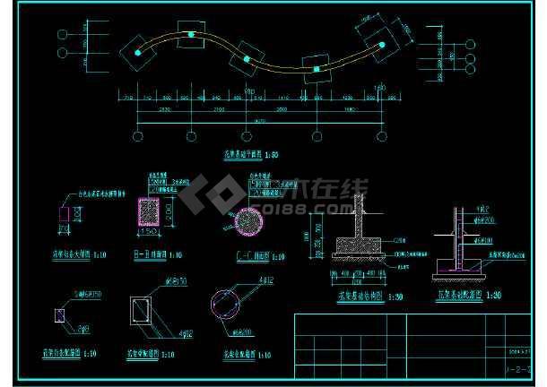 艺术花架CAD平立面设计施工图纸-图3