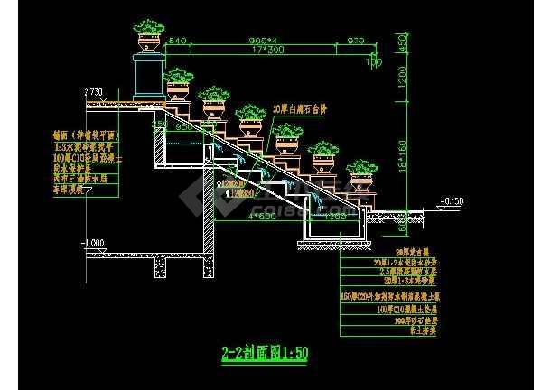 某跌水景观设计大样CAD详图图纸-图1