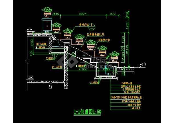 某跌水景观设计大样CAD详图图纸-图2