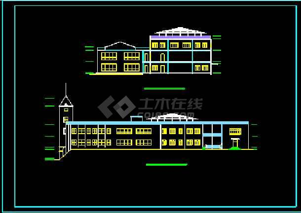 某豪华会所建筑设计施工CAD方案图-图2