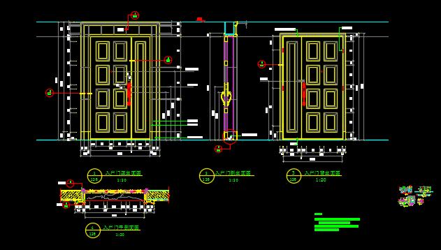 某地高级别墅设计入户门CAD详图图片1