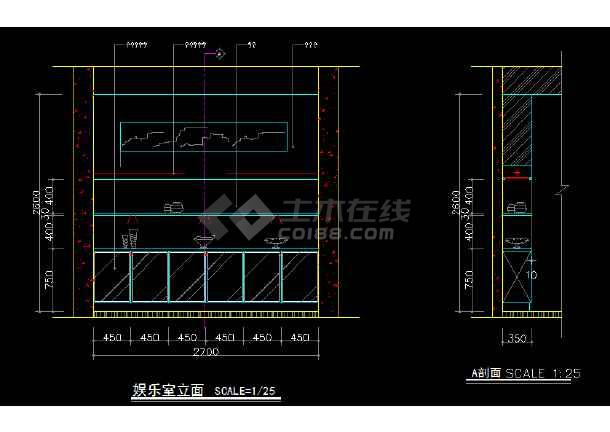 室内家装立面图块素材CAD总汇图-图3