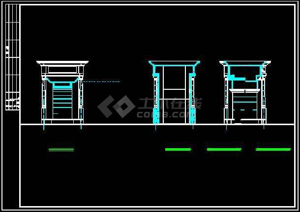 某小区大门建筑设计CAD方案施工图-图2