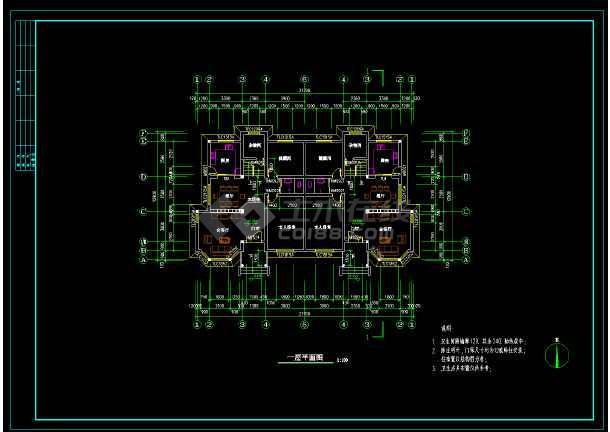 高层双拼别墅建筑设计cad施工方案-图2