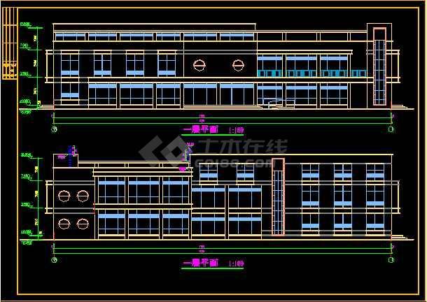 会所方案设计施工CAD建筑平立面图-图1