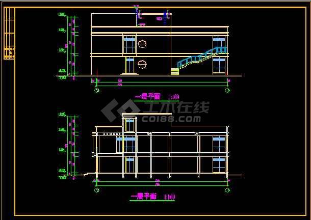 会所方案设计施工CAD建筑平立面图-图2
