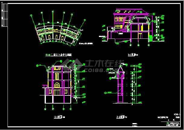 会所全套建筑设计施工CAD方案图-图3
