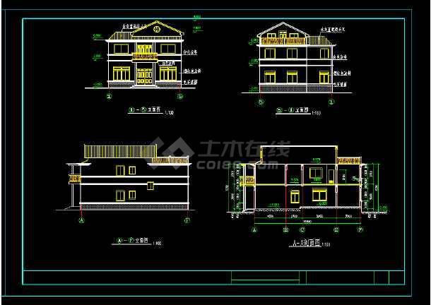 某市带阁楼别墅cad建筑施工图纸-图2