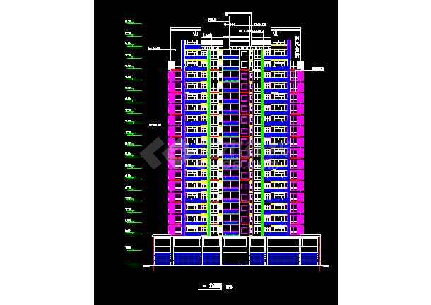 某高层商务住宅楼方案CAD建筑设计施工图-图1