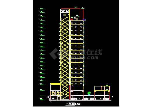某高层商务住宅楼方案CAD建筑设计施工图-图3