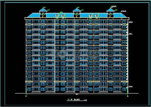 断肢剪力墙小高层住宅建筑施工设计CAD方案图-图1