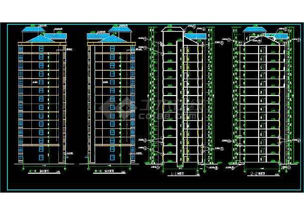 断肢剪力墙小高层住宅建筑施工设计CAD方案图-图2