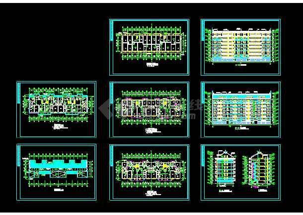 点击查看多层住宅建筑设计施工CAD平立剖图第1张大图
