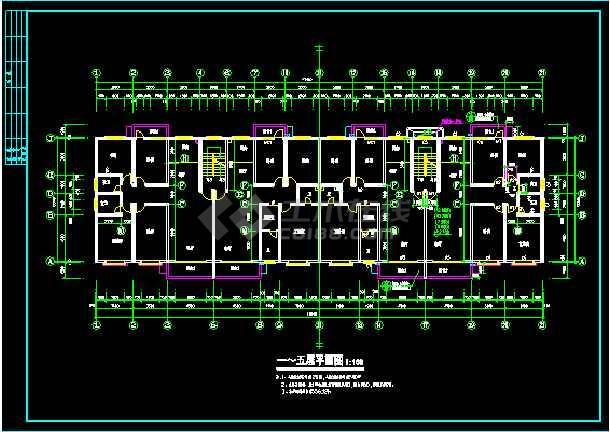 多层住宅建筑设计施工CAD平立剖图-图2