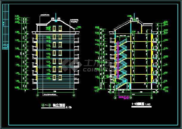 多层住宅建筑设计施工CAD平立剖图-图3
