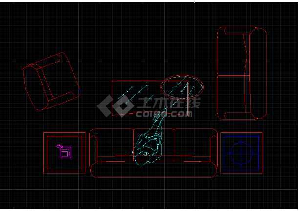 室内常用的办公家具平面CAD素材图块-图2