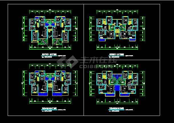 点击查看花样洋房住宅建筑设计施工CAD户型图第1张大图