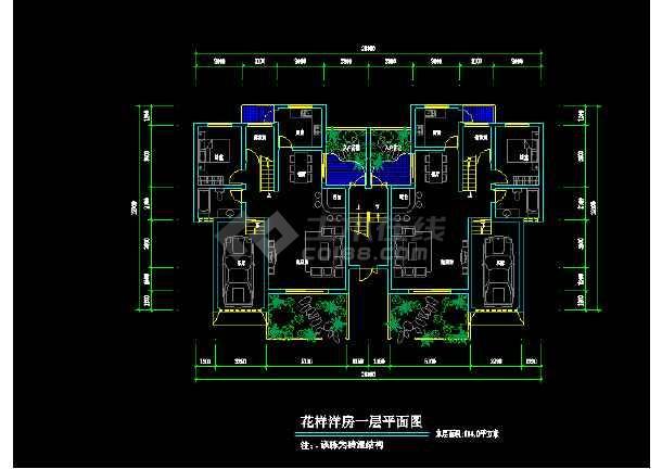 点击查看花样洋房住宅建筑设计施工CAD户型图第2张大图