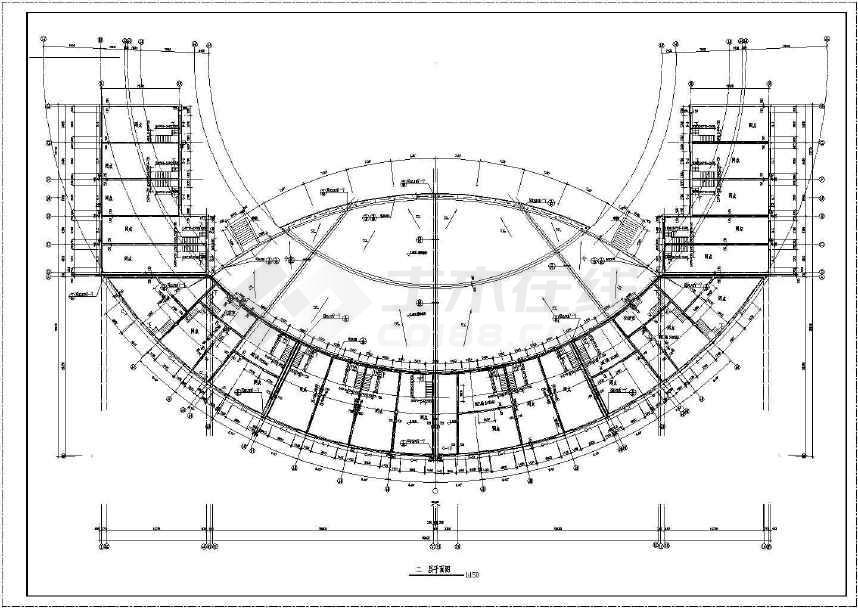 某地二层圆弧形广场舞台及网点建筑设计图纸-图1