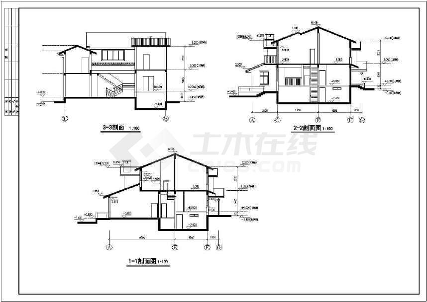 3套经典别墅施工建筑图(可预览)-图1