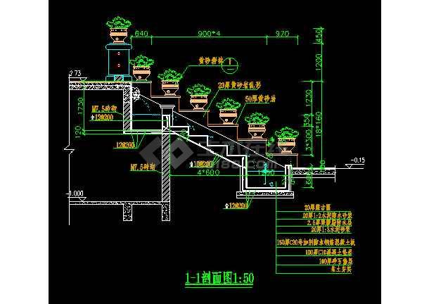 某跌水景观施工装修CAD平面设计详图-图2