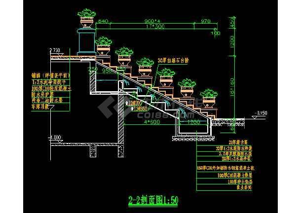 某跌水景观施工装修CAD平面设计详图-图3