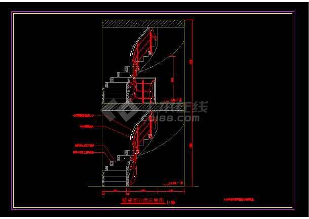 某旋转楼梯建筑节点施工CAD图纸-图1