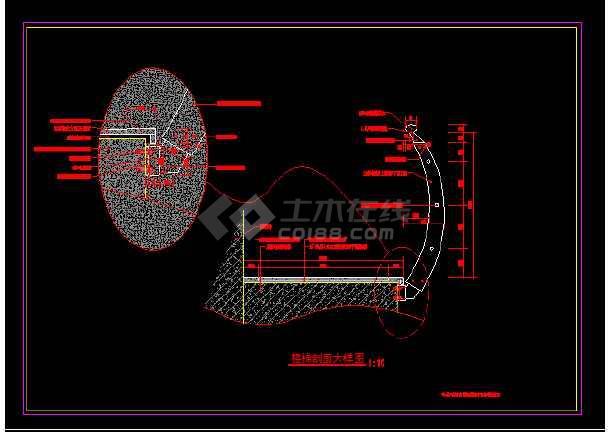 某旋转楼梯建筑节点施工CAD图纸-图2