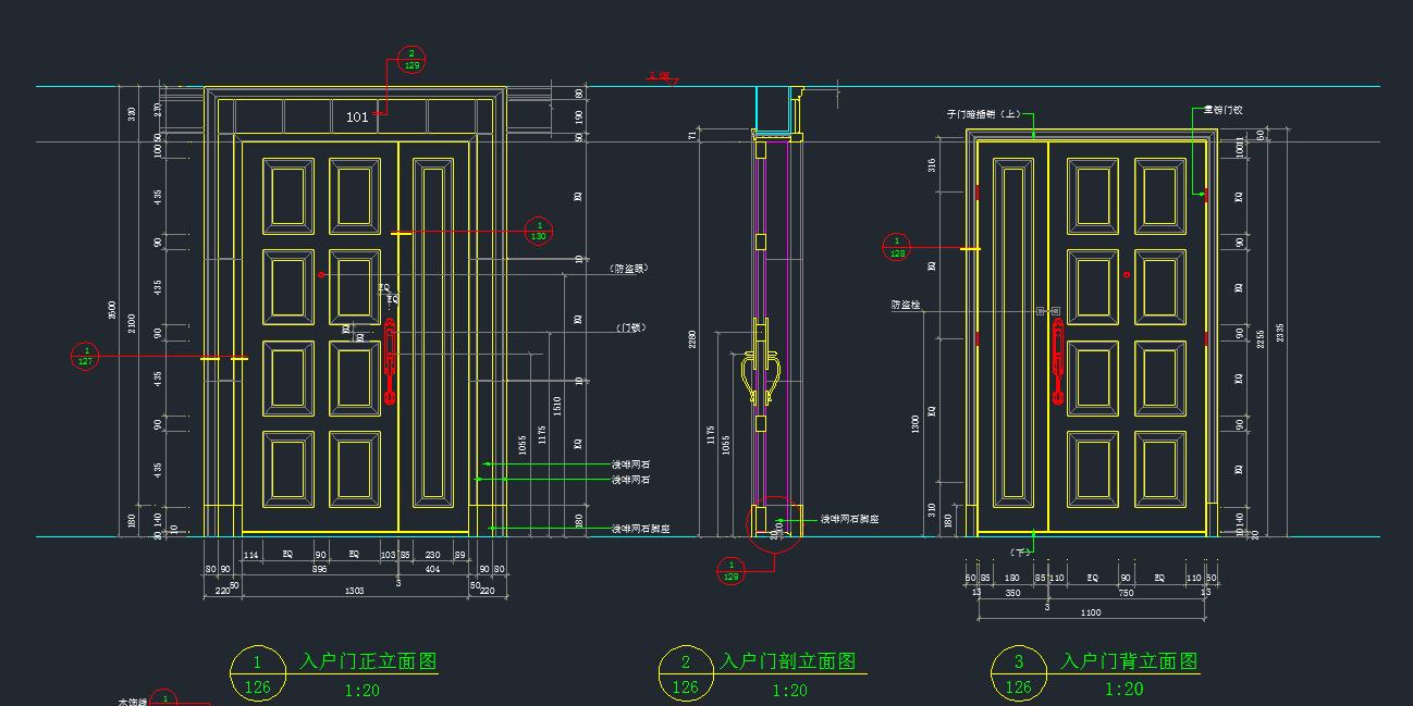 某高档别墅入户门装修设计CAD详图图片2