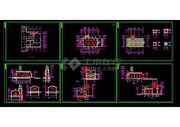 点击查看英伦风情教堂建筑施工cad设计方案图纸第1张大图