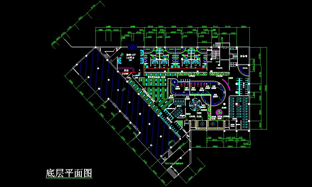 某桑拿浴场建筑cad设计底层平面图图片1
