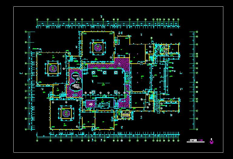 文化娱乐中心建筑cad设计一层平面图图片1
