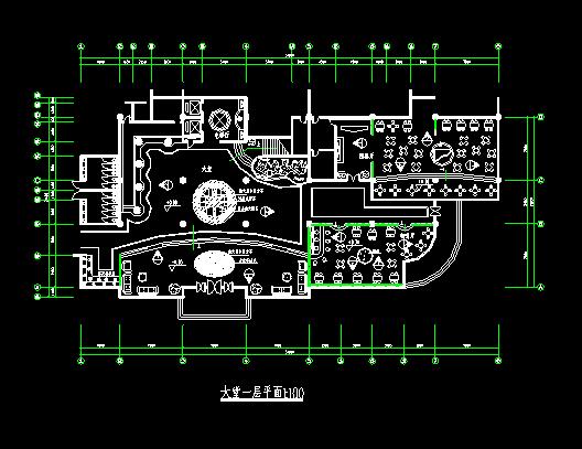 某高级西餐厅建筑cad设计一层平面图图片3
