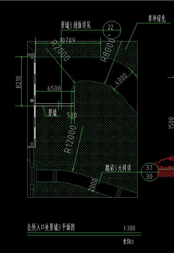 会所入口景墙cad设计平面大样图图片3
