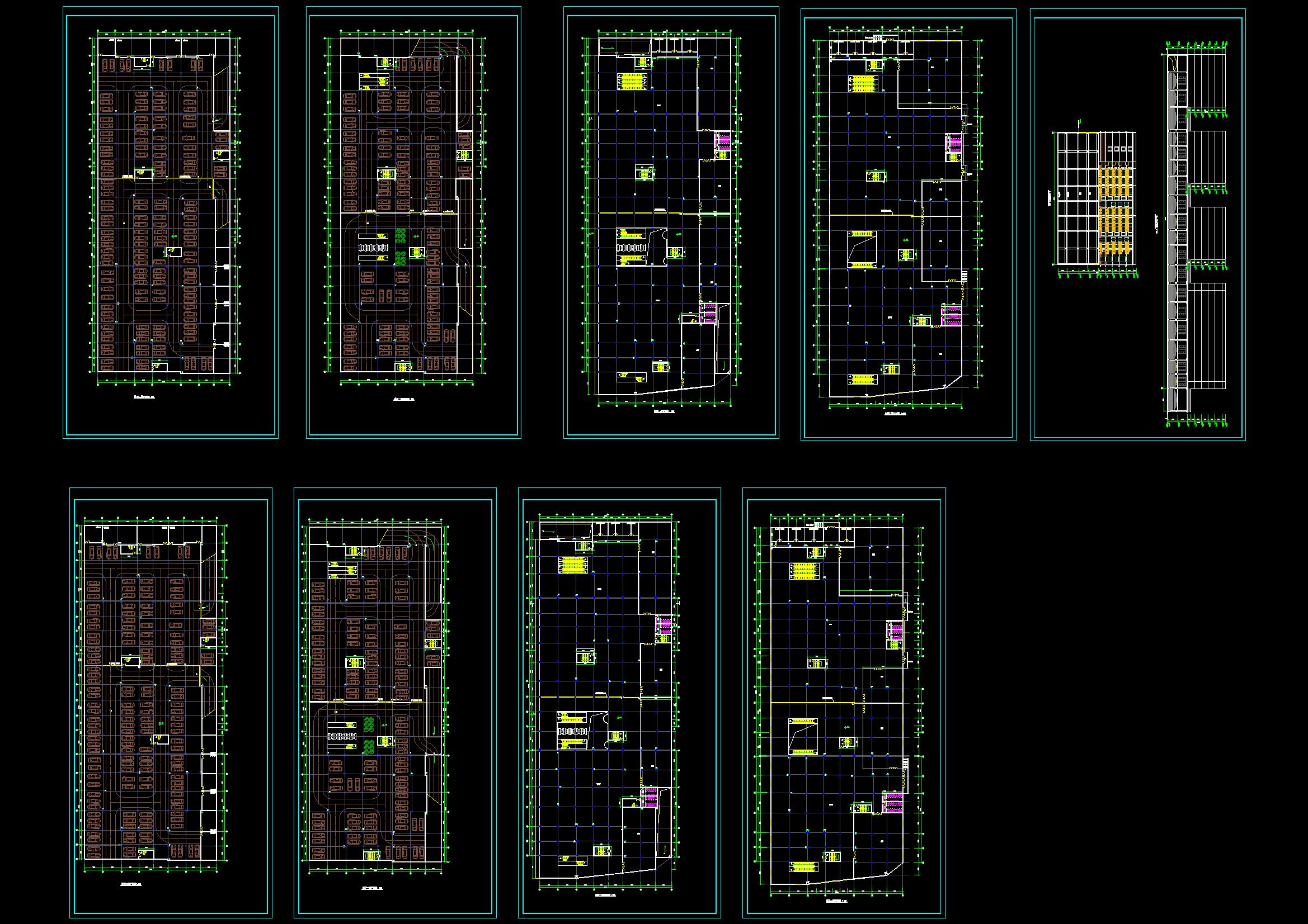 某商场建施图(附带地下二层停车场)CAD图纸(共9张)图片1