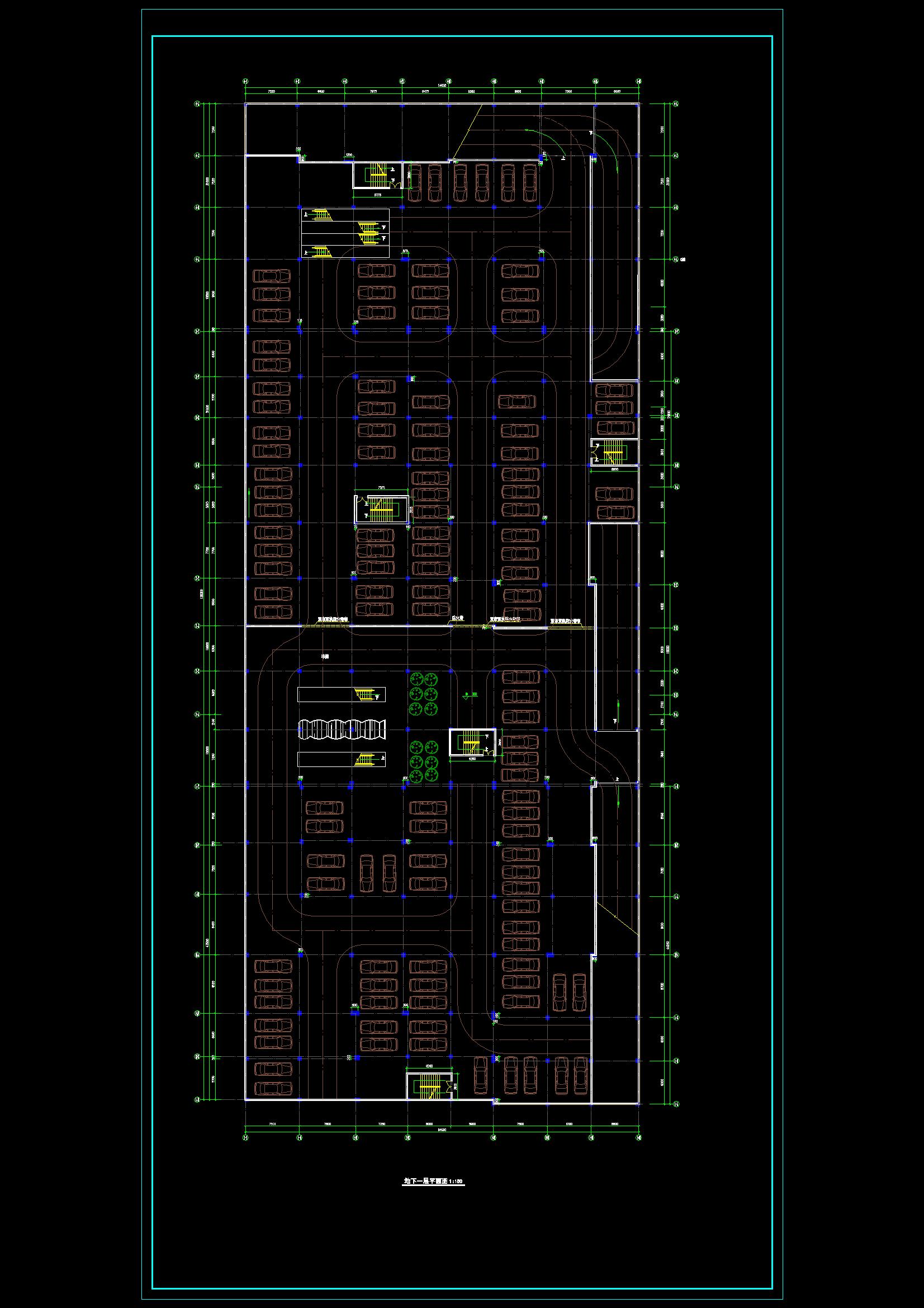 某商场建施图(附带地下二层停车场)CAD图纸(共9张)图片3