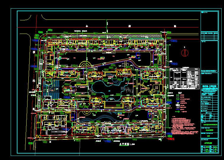 某市一整套住宅小区结构定位cad施工方案平面图图片1