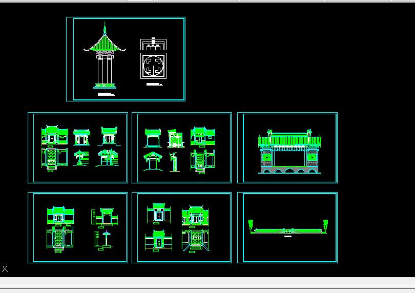 某精品古建筑方案设计全套CAD图纸图片1