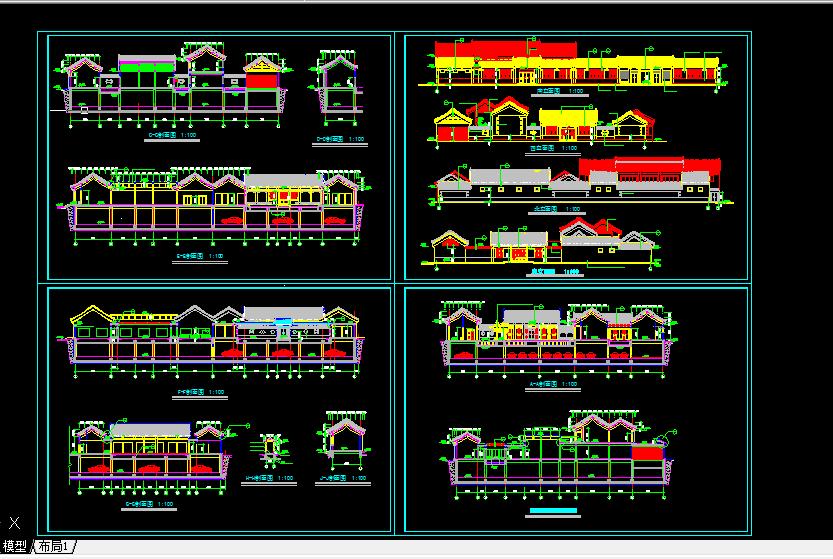 某古建筑方案设计及施工全套CAD剖面图图片1