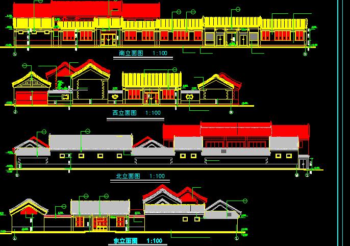 某古建筑方案设计及施工全套CAD剖面图图片2
